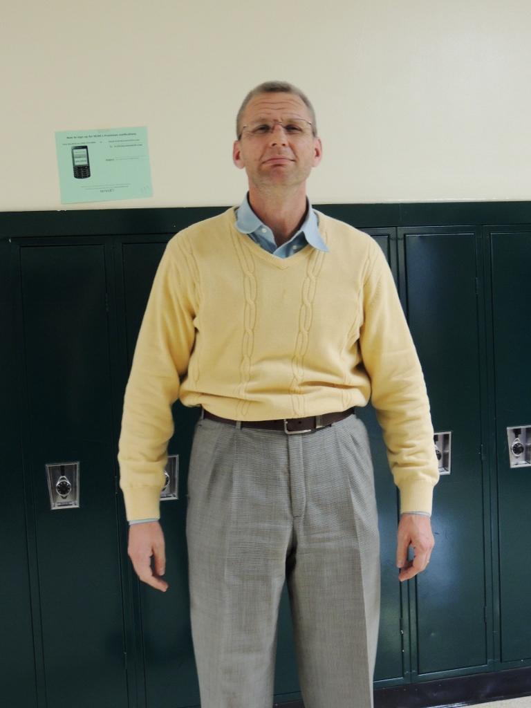 Mr. Doll dresses as Mr. Olld for Halloween
