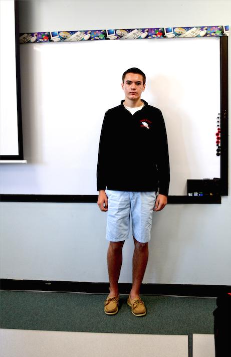 Austin Kleber, senior, wears light blue shorts and tan Sperry's.