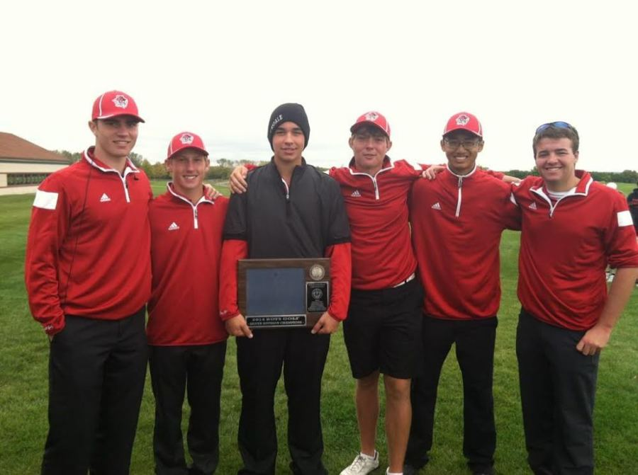 The varsity boys' golf team wins the Conference title. From Left: Billy Bizub, Drew Shepherd, Brian Dolehide, Brendan O'Reilly, Kenneth Li, and Grant Labedz