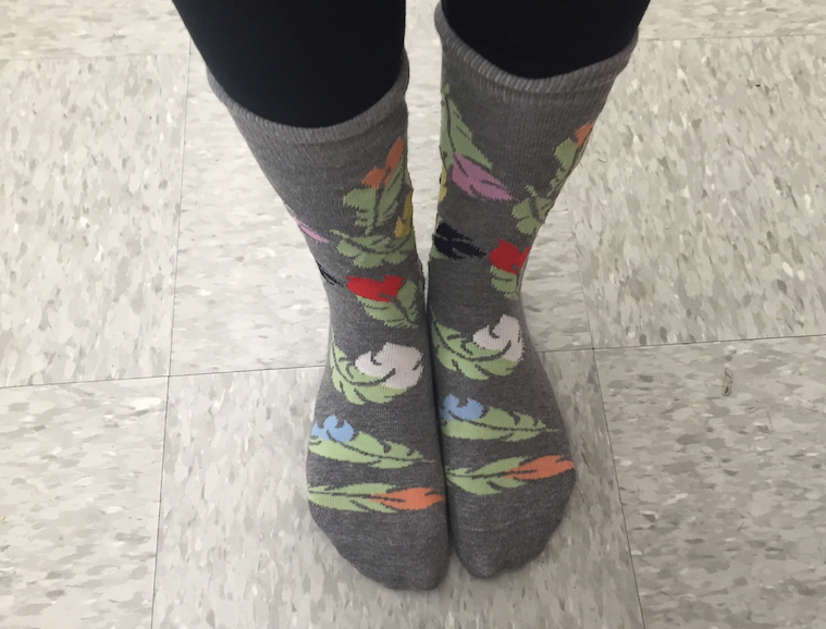 Nina Demirjian, senior, wears feather socks that are fun and unique.