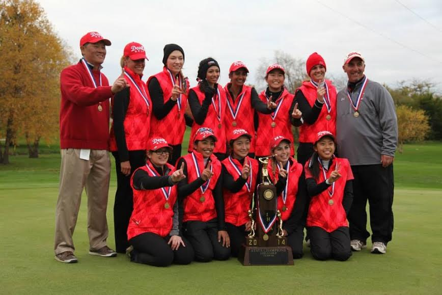 The girls' varsity golf team poses for a picture after winning the state championship. Back Row (From left): Mr. Wong, Coach Judi Jolicoeur, Miranda Mocklow, sophomore, Jahanavi Gaur, junior, Riya Uppal, junior, Jessica Lee, sophomore, Erin Bruns, junior, and Coach Nick Latorre. Front row: Stephanie Spitzer, junior, Roshannah Gaur, freshman, Maria Harrast, sophomore, Danielle Smith, senior, and Selina Zeng, sophomore.