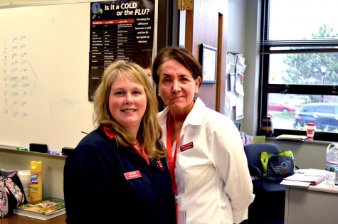 Nurses Leah Block and Cecelia Littlefield take care of students at Central.