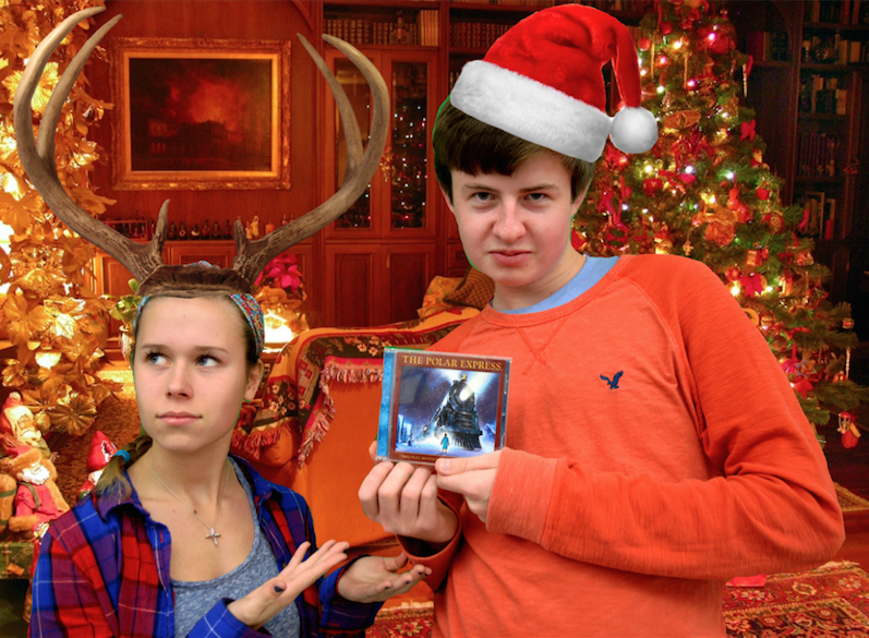 Seniors+Haley+Planson+and+Liam+Jones+disagree+over+Christmas+music.