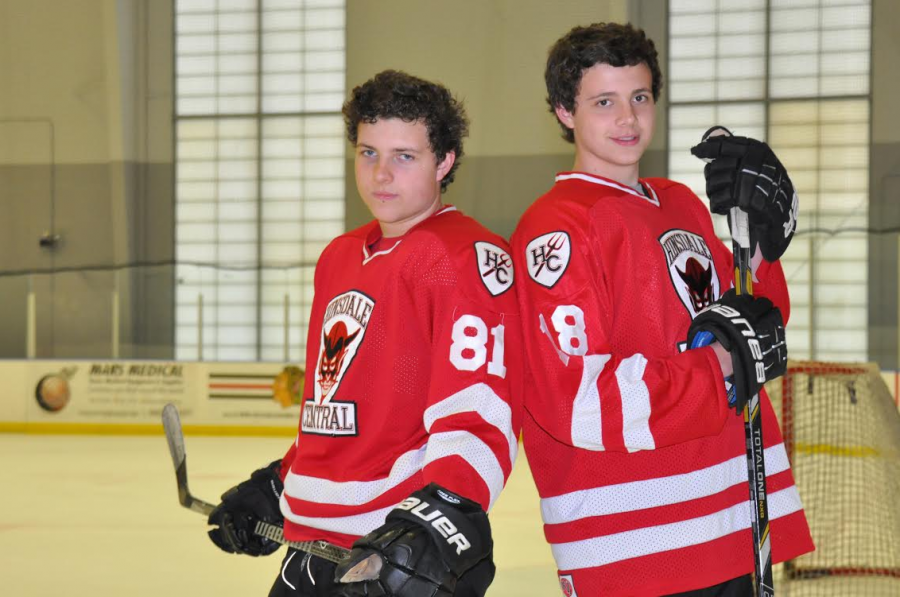 Brothers Drew and Nick Kubycheck play for the Red Devil hockey team.