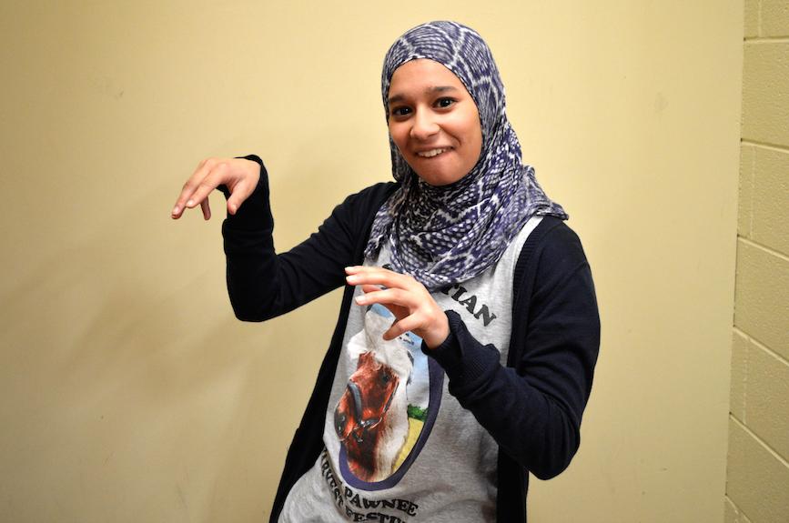 Senior Riyah Basha poses in her animal outfit.