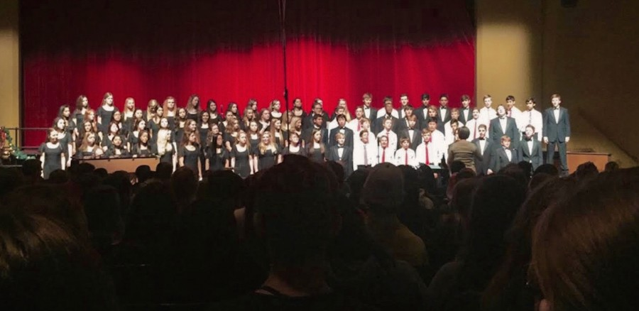 The band and choir worked together to put on a holiday concert show for classes on Dec. 8. They performed for 45 minutes for three different audiences of students.