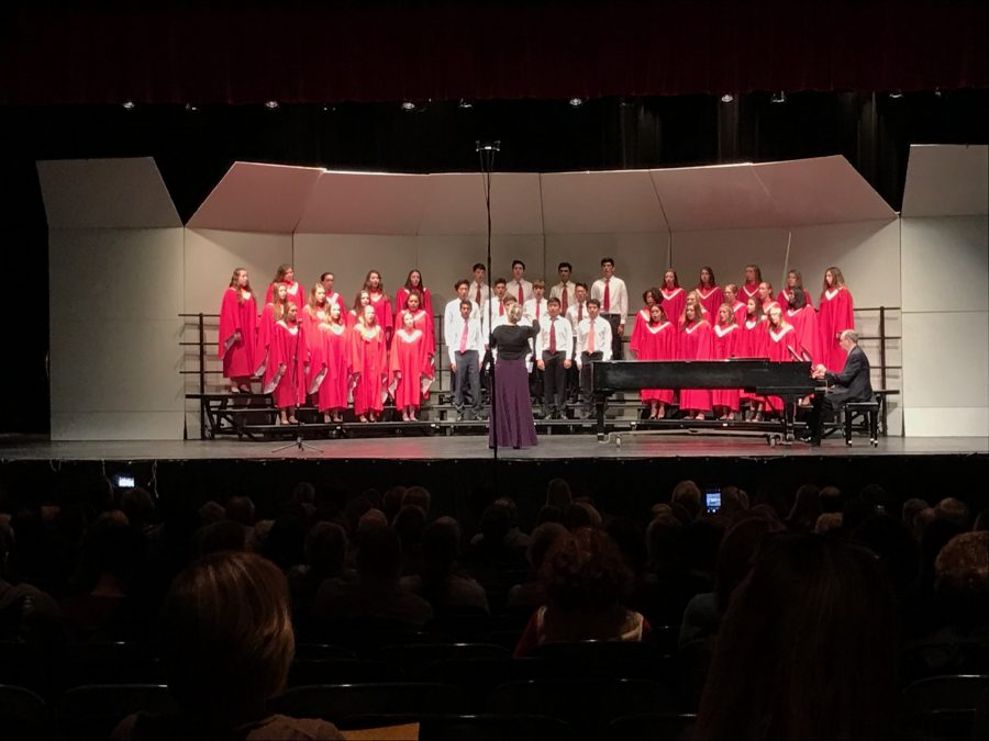 Treble and Mens Choir on stage at the Fall Choral Concert