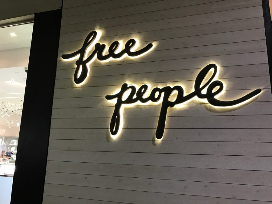 Free People store sign at Oakbrook Mall.