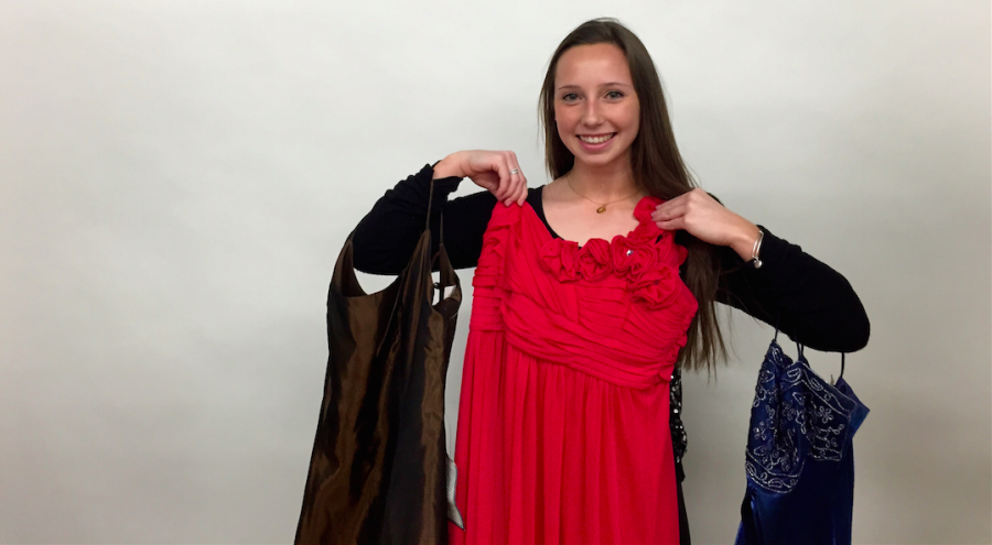 Tracey+poses+with+possible+prom+dress+options.