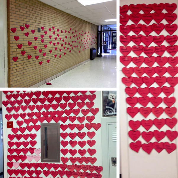 Student Council wrote the names of every student and faculty member on hearts to decorate the halls Friday at school and to remind each Red Devil that they are loved.