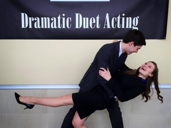 Seniors Jackson Dockery and Nicole Labun have fun before becoming serious for their Dramatic Duet Acting performance, which earned them state champion titles at the Forensics State Competition on Feb. 21.