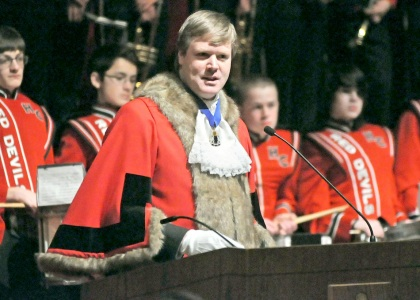 Former Lord Mayor of Westminster, Duncan Sandys, visited Central on Feb. 24 to cordially invite the marching band to perform in next year's New Year's Day Parade in London.