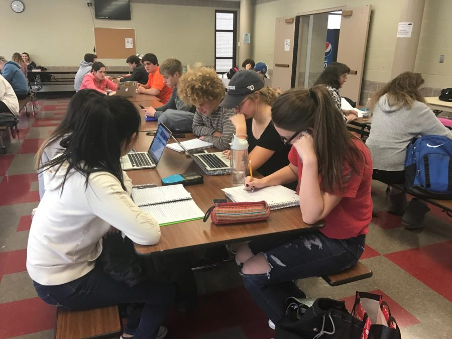 Hinsdale Central Students get an early start on studying for finals.