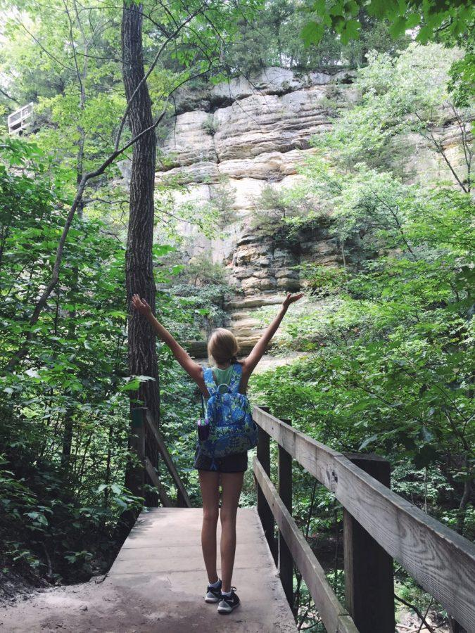 Junior Caroline Langan uses her Vera Bradley backpack while hiking