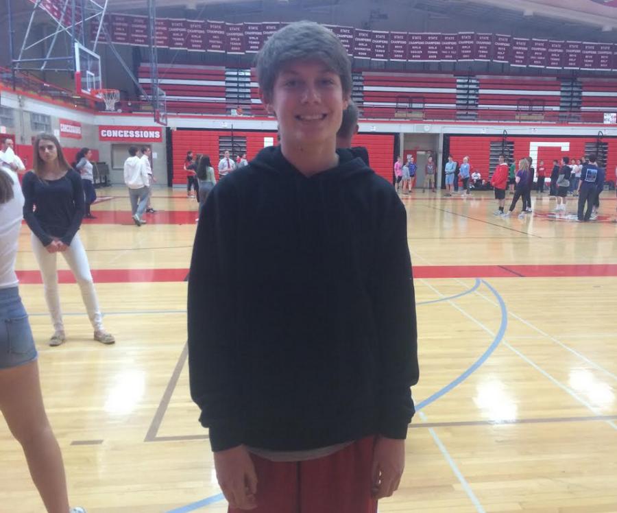 Sam Schiavitti, freshman, takes a break from the freshman square dancing unit in gym.