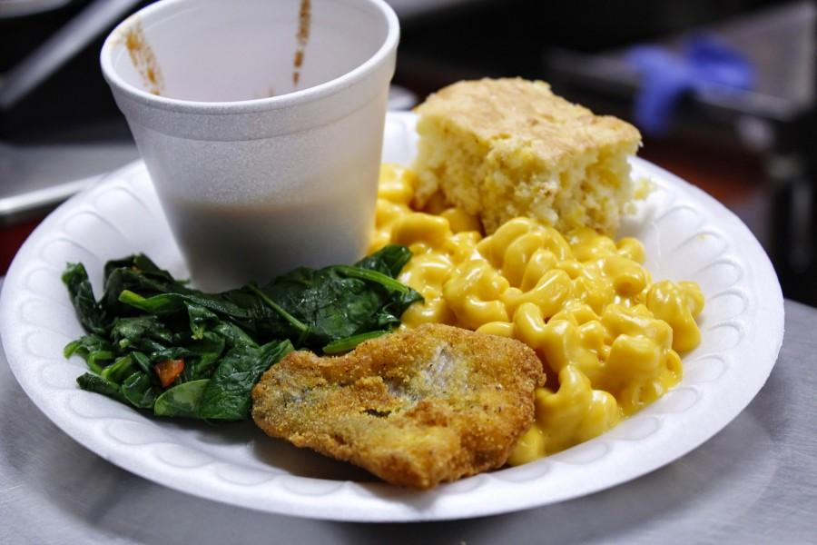 The cafeteria served cornbread, spinach, mac n cheese, and catfish in honor of Black History Month.