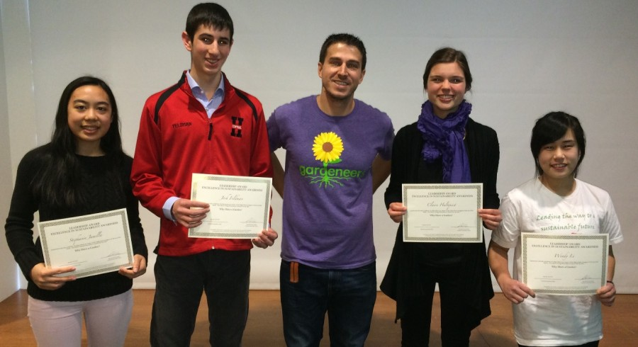 Ecology club members received awards and a grant for their film submission that promoted sustainability and school gardens on Sunday, March 8 in Oak Park , Ill.  (left to right: Stephanie Jamilla, senior; Josh Feldman, senior; Adam Zmick, co-founder of Gardeneers; Claire Hultquist, senior; Wendy Li, sophomore)