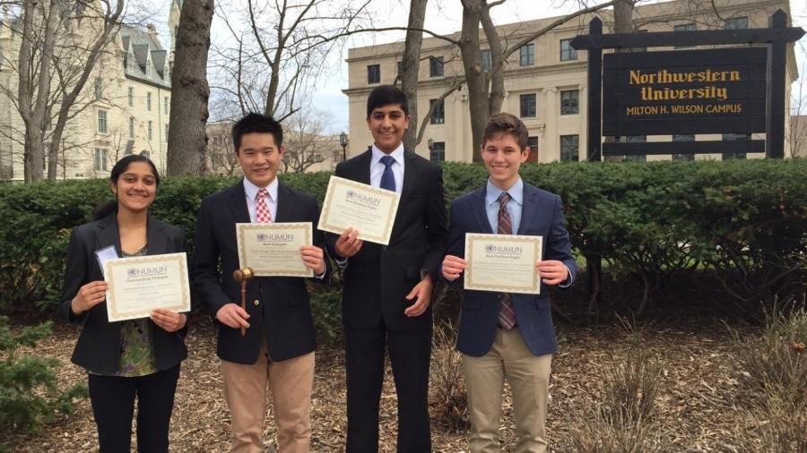 Sanjana Srinivasan, senior, Zach Wong, senior,  Satya Krishnan, senior, and Alec Johnson, junior received awards for their participation in the Model UN conference held at Northwestern University on April 4.