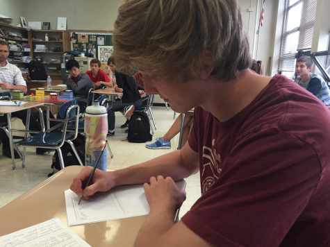 Junior Daniel Lillard studies for his  upcoming AP exams, which are scheduled to run May 4 to May 15.