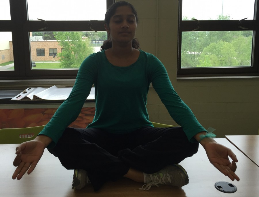 Difficult to capture in a dark room, senior Sanjana Srinivasan takes a break from her studies to clear her mind.