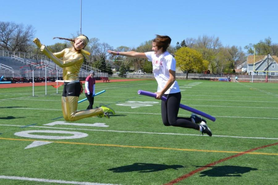Emma+Day%2C+senior%2C+serves+as+the+%22snitch%22+in+the+Junior+Class+Board+Quidditch+tournament.