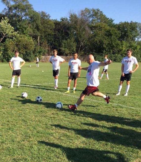 Jones practices his shooting skills with varsity boys' soccer on Sept. 16.