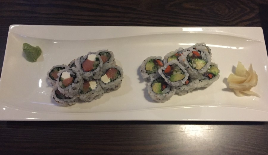 Philadelphia rolls (left) and Vegetable rolls (right); both were tasty and recommended.