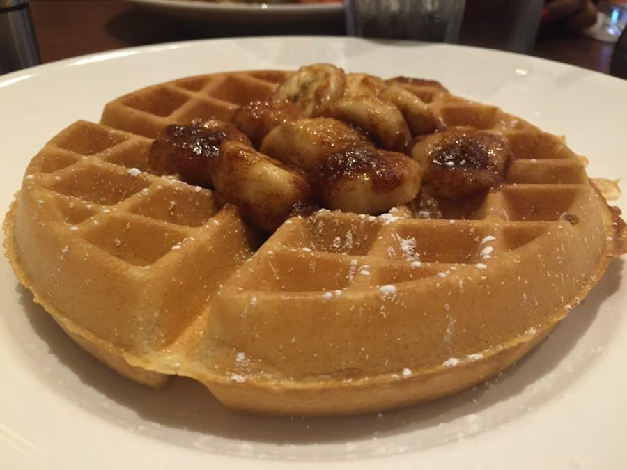 YiaYia's Pancake House and Restaurant offers Banana Fosters Belgian Waffles--a nice twist on the classic dessert.