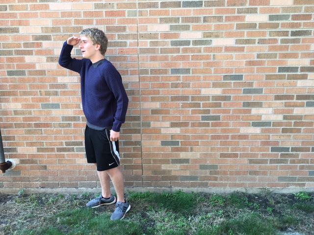 Joseph Miscimarra models a navy blue sweater