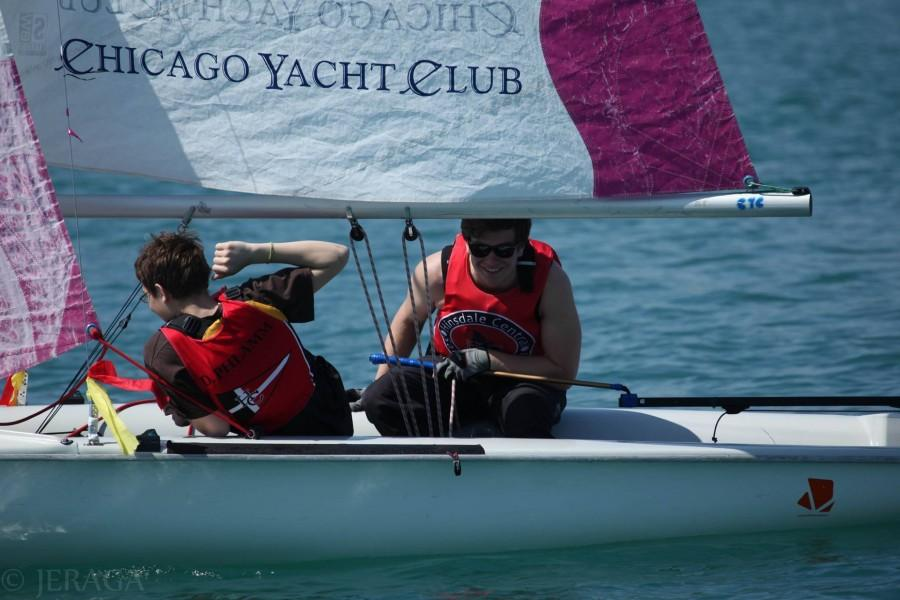 Senior Mike Phlamm heads out to sail on Belmont Harbor in Chicago.