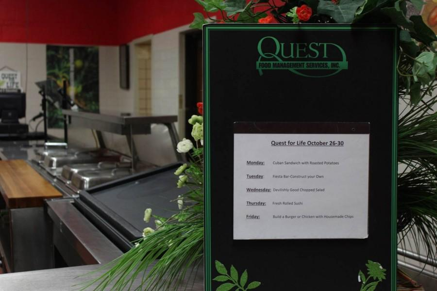 Quest, the school's food service provider, changes the lunch menu each week and strives to offer vegetarian and gluten-free choices. Some students would like to see more options available.