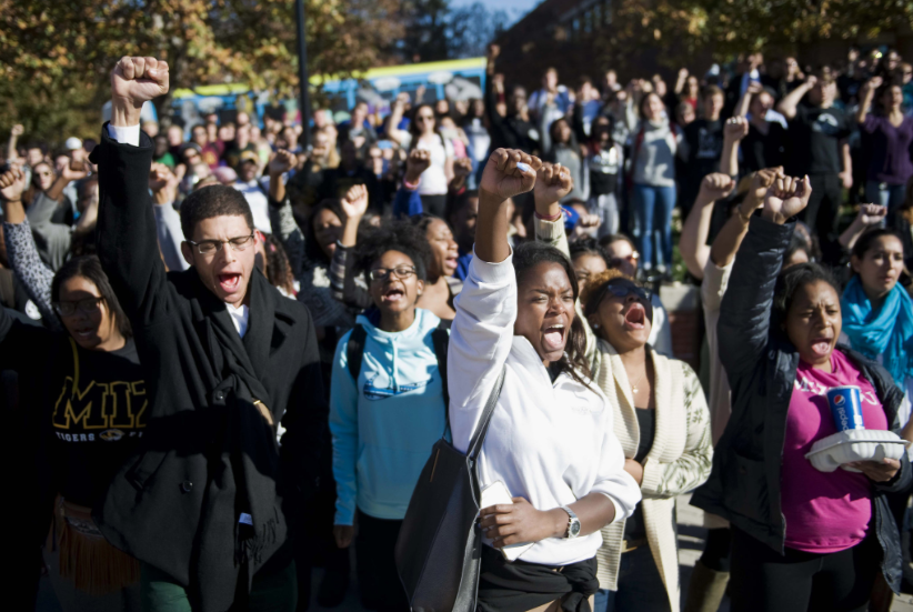 Students at University of Missouri protesting the extreme racism on campus.