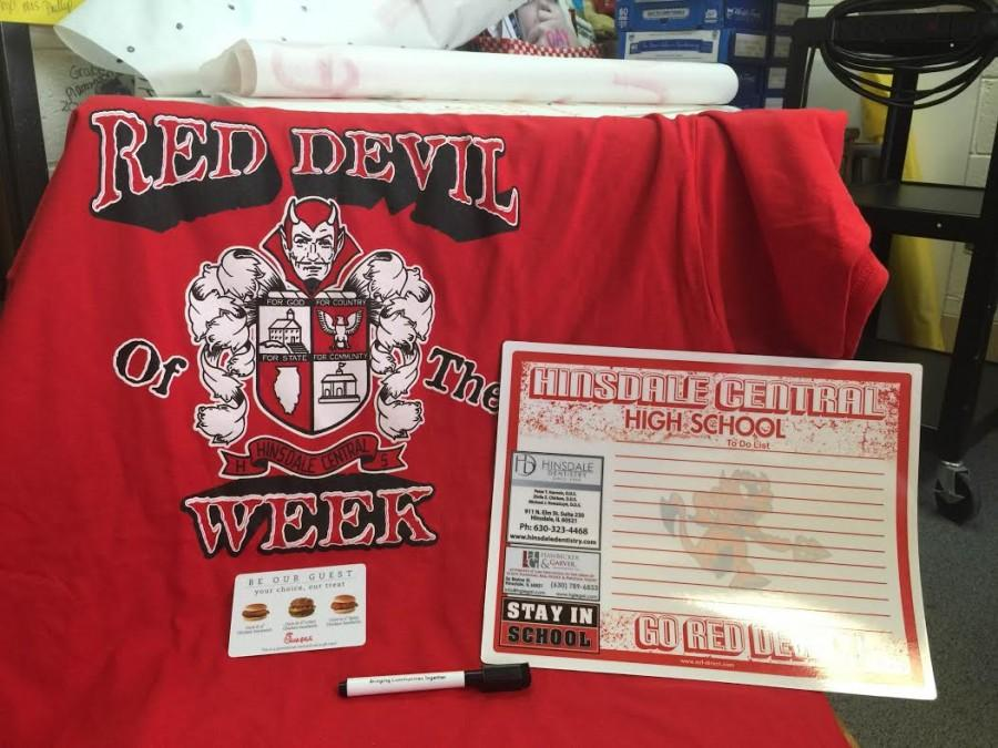 New this school year, the Red Devil of the Week is a random drawing of students from each grade level and a faculty member on Fridays in the morning. The winners receive various prizes if they have spirit wear on.