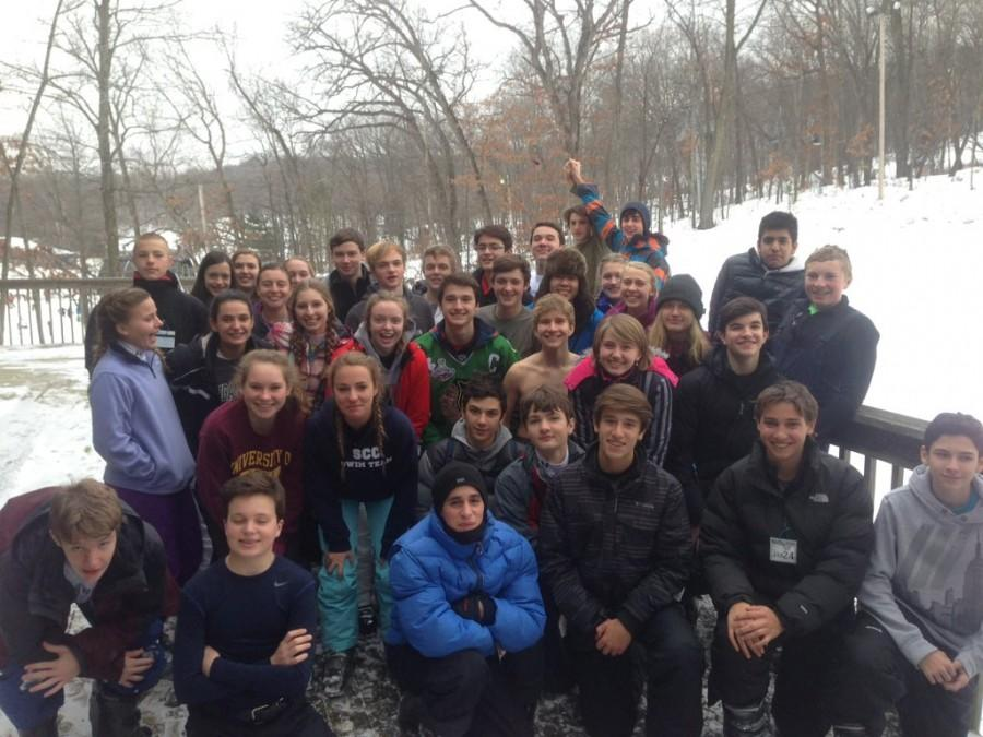 In January, 38 ski/snowboarders from Outdoor Adventure Club (OAC) posed for a group photo during a break from the slopes. OAC plans to take another ski trip later this month.