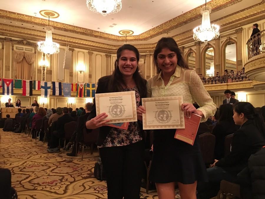 Hana+Ramani+and+Serena+Tolani%2C+seniors%2C+both+won+awards+at+the+Model+UN+conference+on+Feb.+7.