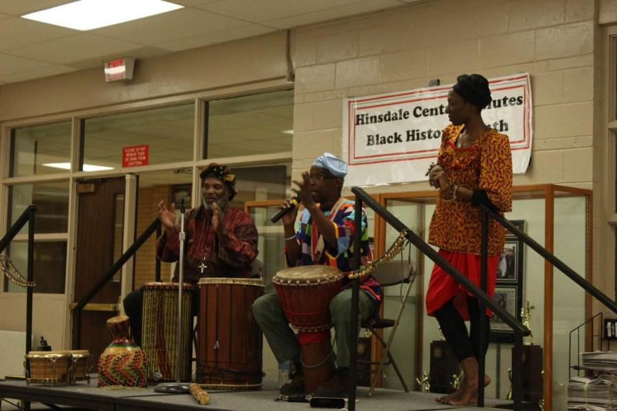 On Friday, Feb. 5, the 2016 Black History Month Committee brought in Tony Carpenters professional music trio to perform African dance and drum during lunch periods.