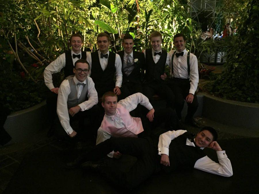 Back row from left to right: Will Meland, Jimy Antonelli, Albert LaValle, Brian Glowniak, Cooper Lienhart  Front from left to right: Michael Dietrich, Tommy Gruchala, Bryte Bu  Seniors take the photo opportunity at Crystal Gardens inside of Navy Pier during Prom on April 30.