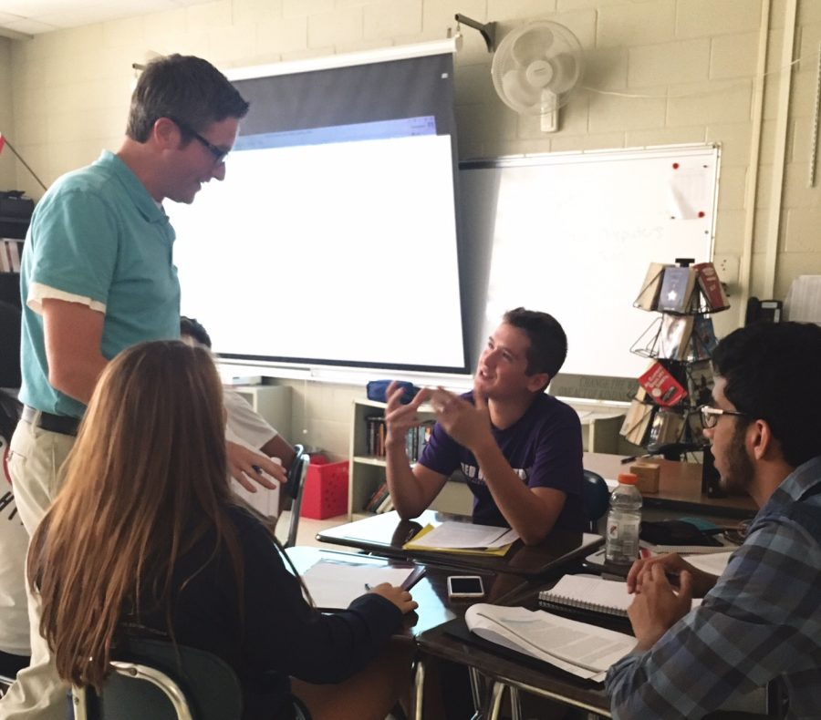 Mr. Friebel, English teacher, interacts with his students at the beginning of the year in order to get to know new faces.