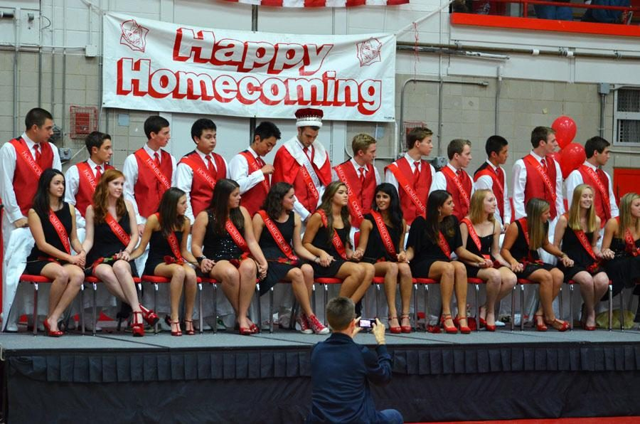 The 2012 Homecoming court poses at the Pep Assembly prior to the dance. This year the court has changes planned in order to be more inclusive.