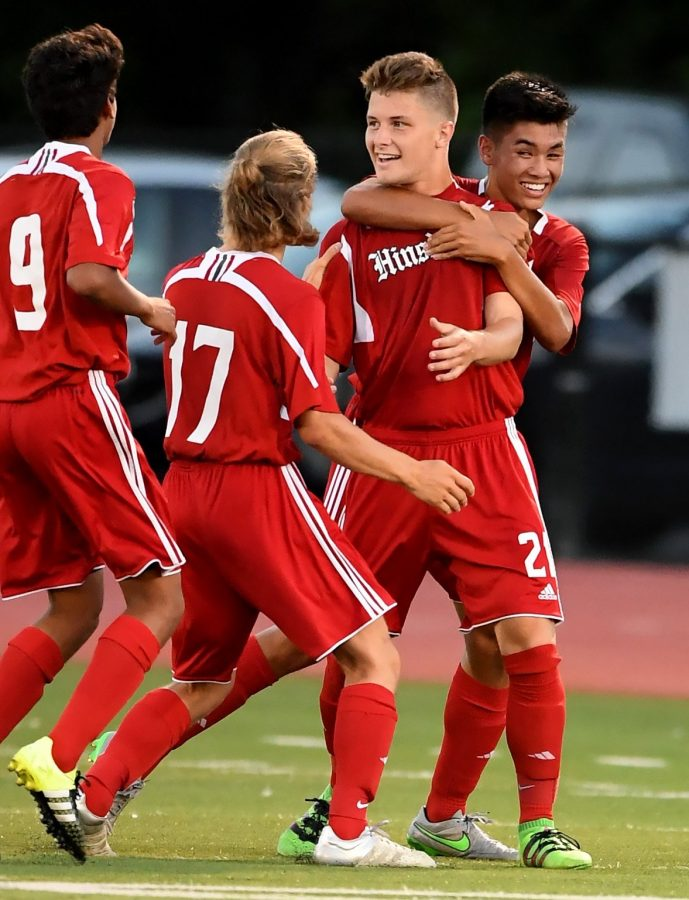 The boys soccer celebrated their 25th win in their conference on Sept. 6 against York High School.