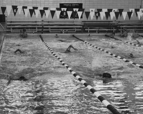 Girls' Varsity Swimming practices after school on Sept. 21 in anticipation of their LT meet.