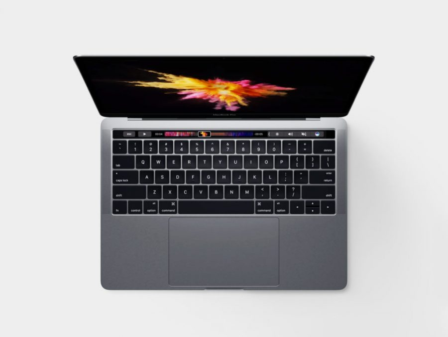 Aerial shot of the new  Apple laptop that has a special touch