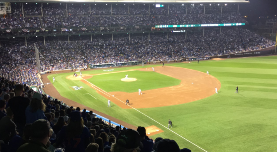 The+Cubs+and+Dodgers+play+during+game+one+of+the+NLCS.