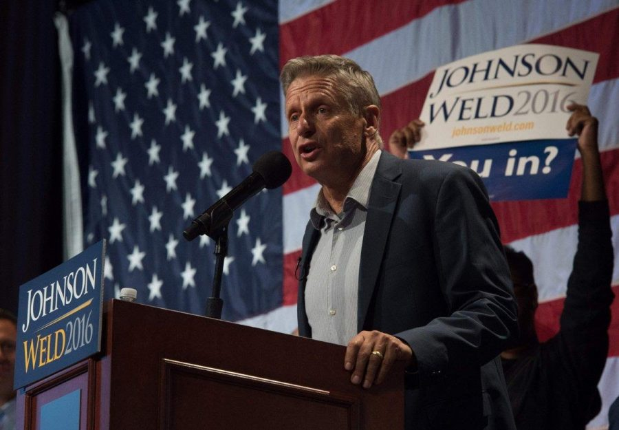 Gary Johnson speaking at one of his rallies in New York