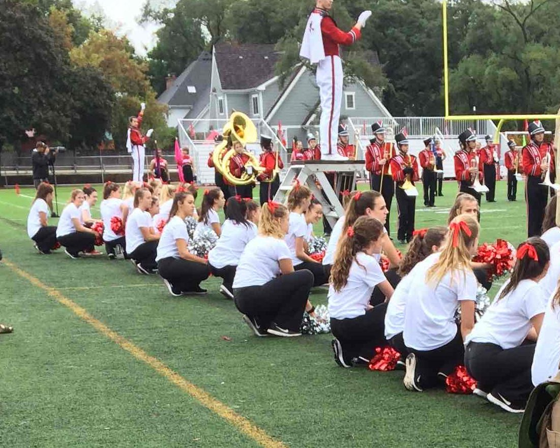 Pommers prepare to perform during the halftime show on Oct. 1.