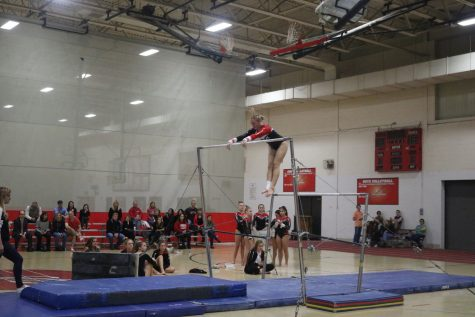 Girls gymnastics takes first at home meet