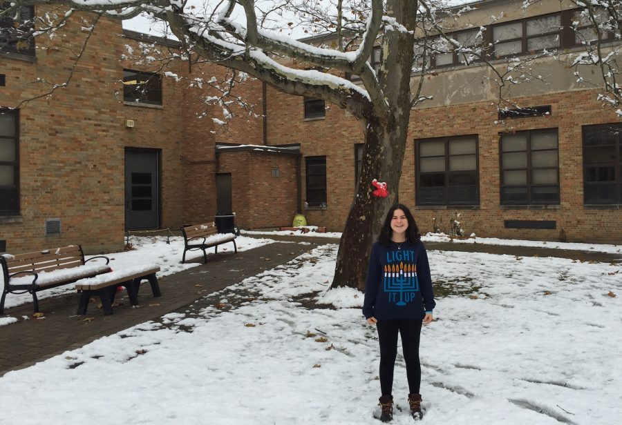 In honor of Hanukkah, Alison Albelda, senior, has been wearing a festive shirt with a menorah on it.