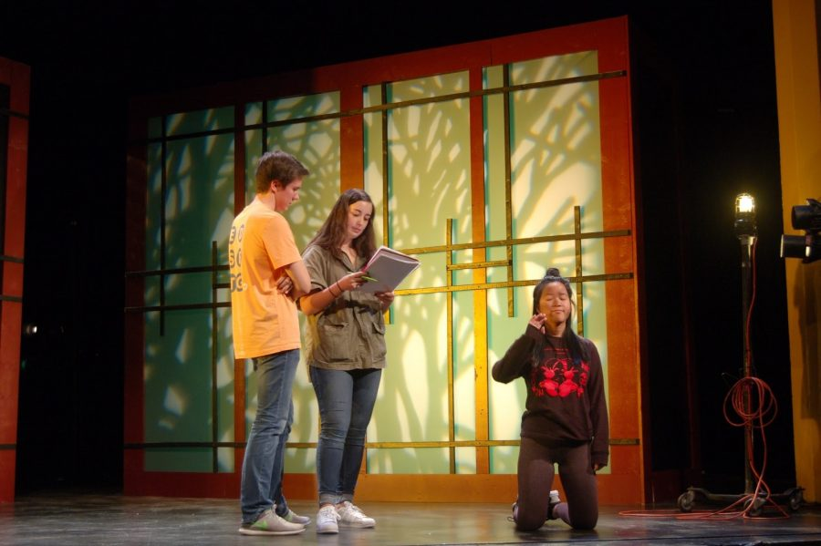 Sophomore Hannah Kiperman, middle, redirects cast to positions during the rehearsal for the fall play of Rashoman as the assistant director.