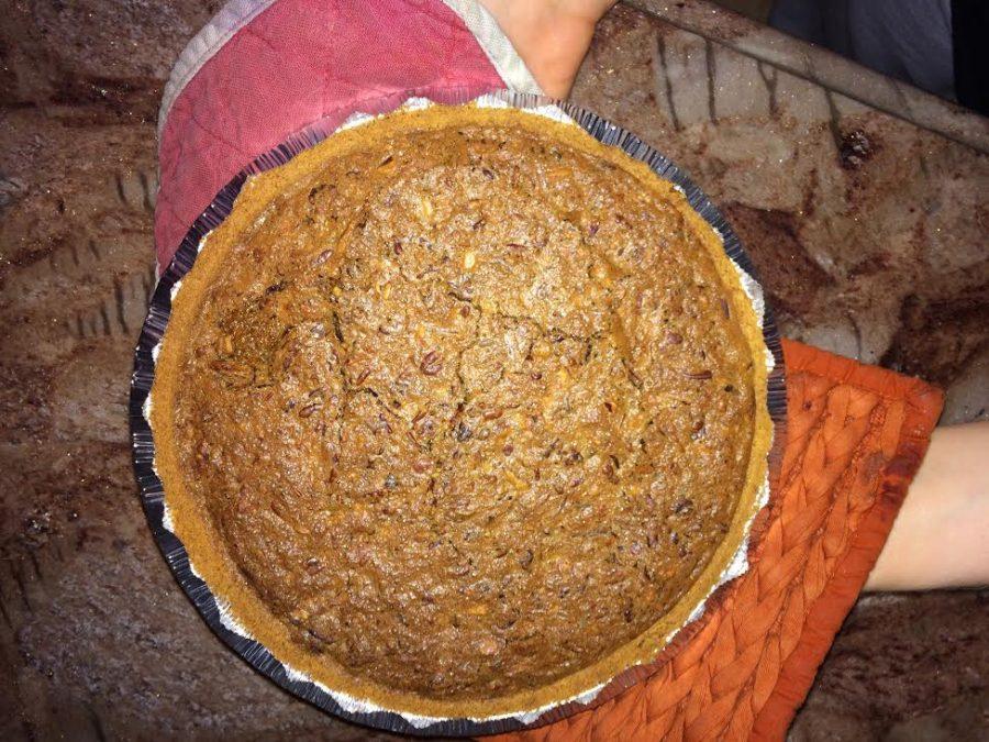 Baked+9%22+pumpkin+pecan+pie.