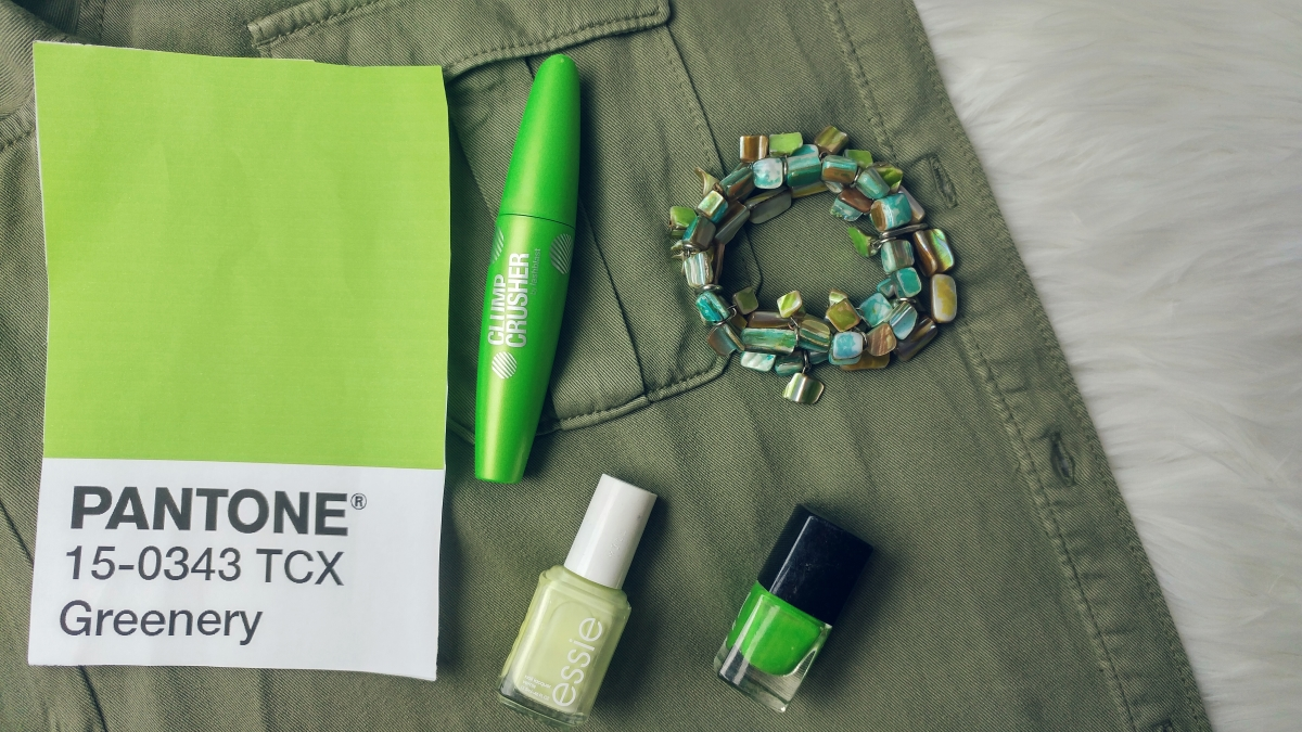 Pantone 15-0343 Greenery will be seen throughout makeup, jewelry, clothing, and interior design elements.